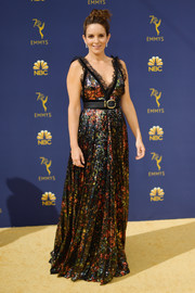 Tina Fey went ultra feminine in an Elie Saab floral sequined gown with lace trim at the 2018 Emmys.