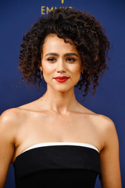 Nathalie Emmanuel rocked a voluminous curly 'do at the 2018 Emmys.