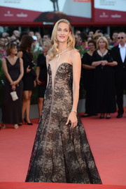 Eva Riccobono chose a jaw-dropping black lace-overlay evening dress for the Venice International Film Festival closing ceremony.