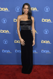 Laura Harrier went for simple elegance in a strapless, dual-textured column dress by Brandon Maxwell at the 2019 Directors Guild of America Awards.