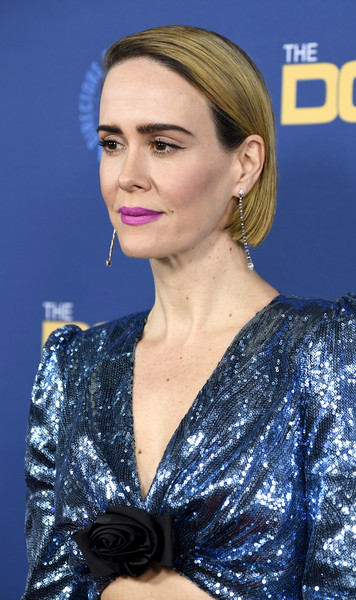 More Pics of Sarah Paulson Berry Lipstick (4 of 9) - Makeup Lookbook - StyleBistro [hair,hairstyle,eyebrow,beauty,chin,premiere,blond,lip,electric blue,makeover,arrivals,sarah paulson,directors guild of america awards,hollywood highland center,the ray dolby ballroom,california]
