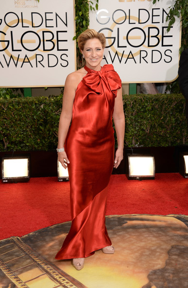 Edie Falco attended the Golden Globes looking sweet in a red Lanvin gown with a huge bow on the neckline.