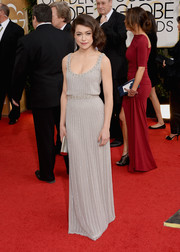 Tatiana Maslany oozed '20s glamour in a beaded gray gown by Jenny Packham during the Golden Globes.