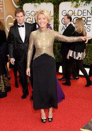 Emma Thompson shimmered in a vintage Lanvin dress with a gold bodice during the Golden Globes.