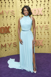 Regina King chose a pastel-blue Jason Wu gown with shoulder cutouts and a high side slit for her 2019 Emmys look.