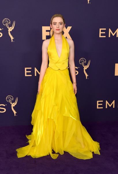 Kathryn Newton rocked a plunging canary-yellow vest by Ralph Lauren at the 2019 Emmy Awards.