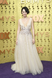 Phoebe Waller-Bridge had a princess moment in a nude Monique Lhuillier tulle gown with a sequined midsection at the 2019 Emmy Awards.
