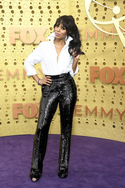 Kerry Washington kept it relaxed in a white ruffle-embellished button-down by Alexandre Vauthier Couture at the 2019 Emmys.