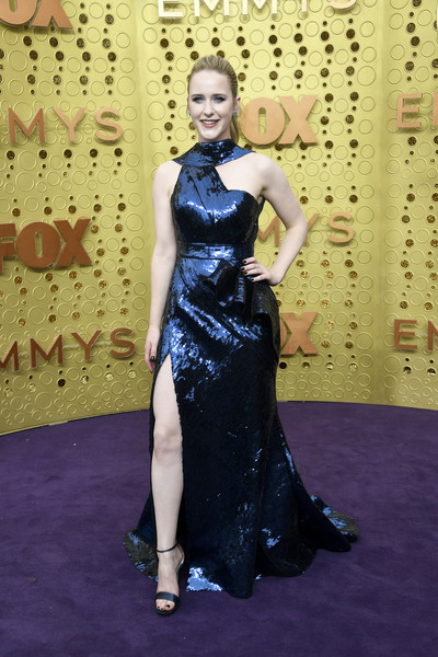 Rachel Brosnahan teamed her dress with black ankle-strap sandals by Jimmy Choo.