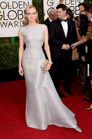 Diane Kruger looked absolutely radiant at the Golden Globes in a silver Emilia Wickstead gown.