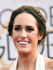 Louise Roe wore a fairytale-worthy crown braid for her Golden Globes look.