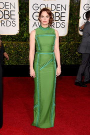 Ruth Wilson cut a svelte silhouette in a sporty-glam green and blue column dress by Prada at the Golden Globes.