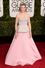 Zosia Mamet channeled her inner fairytale princess in a two-tone peplum strapless gown by Andrew Gn for the Golden Globes.