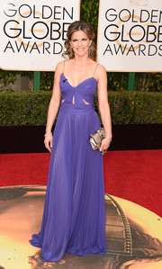 Natalie Morales showed her sexier side in this purple cutout gown during the Golden Globes.