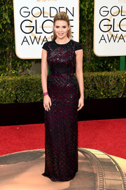 Carly Steel looked regal in a burgundy and black geometric-beaded gown by J. Mendel at the Golden Globes.
