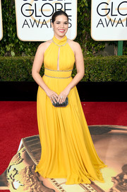 America Ferrera brightened up the Golden Globes red carpet with this yellow Jenny Packham halter gown with crystal embellishments and a keyhole cutout.