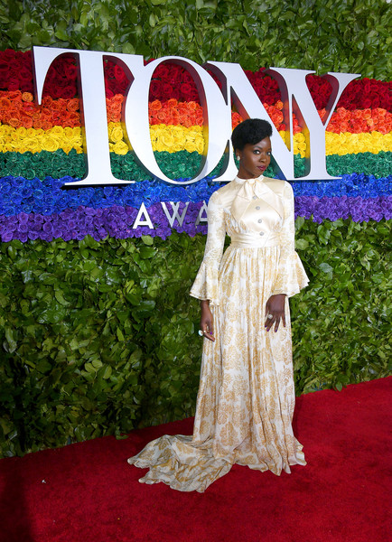 Danai Gurira looked demure in a long-sleeve print gown by Gucci at the 2019 Tony Awards.