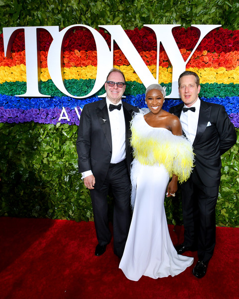 More Pics of Cynthia Erivo Beaded Clutch (1 of 24) - Clutches Lookbook - StyleBistro [red carpet,formal wear,event,ceremony,carpet,wedding,suit,marriage,dress,red carpet,tuxedo,cynthia erivo,scott sanders,l-r,new york city,radio city music hall,tony awards]