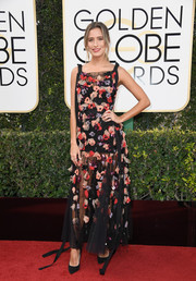 Renee Bargh looked breezy at the Golden Globes in a sheer black Rachel Gilbert gown with colorful floral appliques.