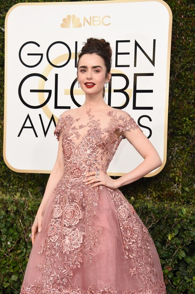 More Pics of Lily Collins Red Lipstick (1 of 23) - Makeup Lookbook - StyleBistro [dress,clothing,fashion model,lady,skin,fashion,beauty,cocktail dress,gown,shoulder,arrivals,lily collins,valerie macon,beverly hills,california,beverly hilton hotel,afp,golden globe awards]