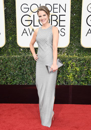 Natalie Morales opted for a subtly beaded silver gown when she attended the Golden Globes.