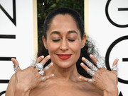 Tracee Ellis got heavily blinged up with a statement ring on every finger for the Golden Globes.