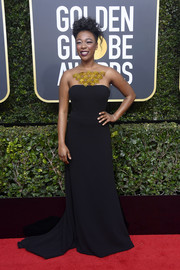 Samira Wiley got glam in a black Romona Keveza fishtail gown with an embellished illusion neckline for the 2018 Golden Globes.