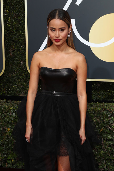 More Pics of Jamie Chung Strappy Sandals (1 of 11) - Jamie Chung Lookbook - StyleBistro [clothing,dress,fashion,strapless dress,cocktail dress,hairstyle,carpet,little black dress,shoulder,red carpet,arrivals,jamie chung,the beverly hilton hotel,beverly hills,california,golden globe awards,the 75th annual golden globe awards]