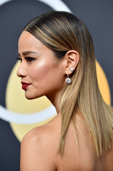 More Pics of Jamie Chung Strapless Dress (5 of 11) - Dresses & Skirts Lookbook - StyleBistro [hair,hairstyle,face,blond,ear,chin,beauty,eyebrow,long hair,skin,arrivals,jamie chung,beverly hills,california,the beverly hilton hotel,golden globe awards,the 75th annual golden globe awards]