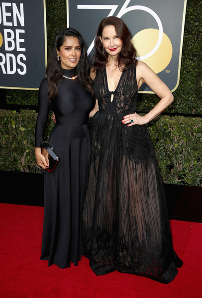 Salma Hayek (in Balenciaga) and Ashley Judd (in Elie Saab)