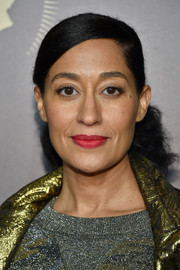 Tracee Ellis Ross wore her hair in a voluminous ponytail with slicked-down bangs during the Peabody Awards.