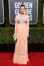 Kate Mara chose a peach Miu Miu empire gown with an embellished bustline for the 2019 Golden Globes.