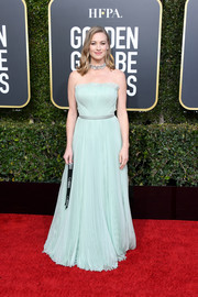 Yvonne Strahovski was sweet and chic in a strapless baby-blue gown by Alberta Ferretti at the 2019 Golden Globes.