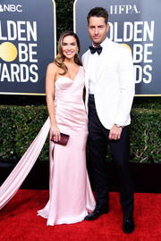 Chrishell Stause went for sweet glamour in a pink one-shoulder gown by Romona Keveza at the 2019 Golden Globes.