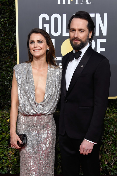 More Pics of Keri Russell Sequin Dress (3 of 12) - Dresses & Skirts Lookbook - StyleBistro [suit,formal wear,premiere,tuxedo,fashion,dress,carpet,event,red carpet,white-collar worker,arrivals,keri russell,matthew rhys,beverly hills,california,the beverly hilton hotel,l,golden globe awards]