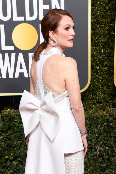 More Pics of Julianne Moore Ponytail (2 of 10) - Julianne Moore Lookbook - StyleBistro [clothing,white,shoulder,dress,beauty,fashion,premiere,hairstyle,carpet,gown,arrivals,julianne moore,the beverly hilton hotel,beverly hills,california,golden globe awards]