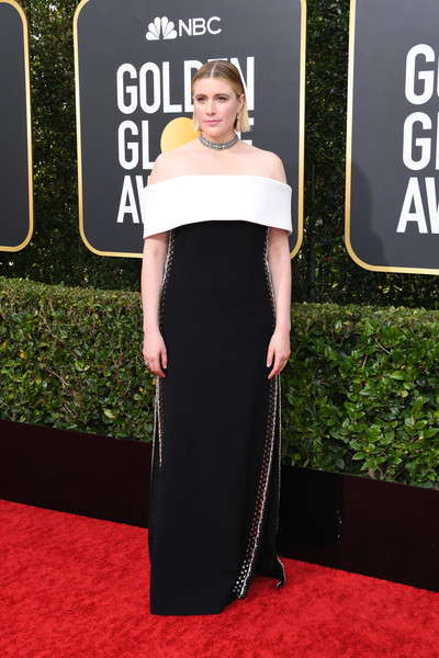 Greta Gerwig oozed elegance wearing a black-and-white off-the-shoulder column dress by Proenza Schouler at the 2020 Golden Globes.