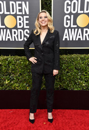 Kate McKinnon opted for an embellished black pantsuit by Prabal Gurung when she attended the 2020 Golden Globes.