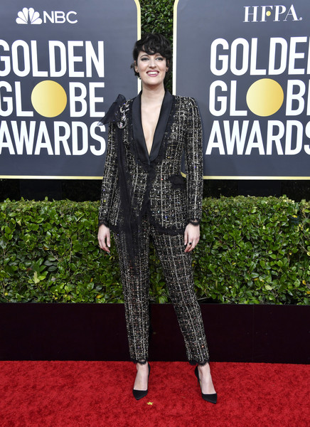Phoebe Waller-Bridge rocked an embellished monochrome pantsuit by Ralph & Russo Couture at the 2020 Golden Globes.
