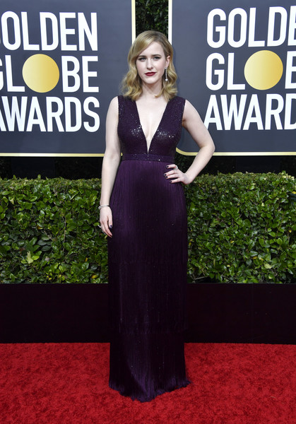 Rachel Brosnahan looked alluring in a deep-V aubergine gown with a sequined bodice at the 2020 Golden Globes.