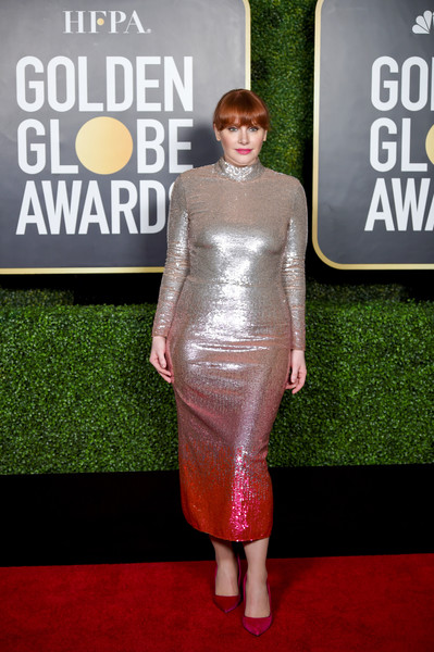 Bryce Dallas Howard went for major shimmer in a sequined ombre dress by Temperley London at the 2021 Golden Globe Awards.