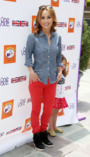 Giada De Laurentiis looked relaxed in a blue pin-dot button-down and red skinnies at the Kidstock Music and Art Festival.