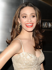Emmy Rossum looked gorgeous in her blush toned lace dress. She paired her sultry dress with Zelda Crystal Drop Earrings and a pop of red lipstick.
