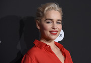 Emilia Clarke styled her hair into a loose, textured bun for the Haiti Rising Gala.