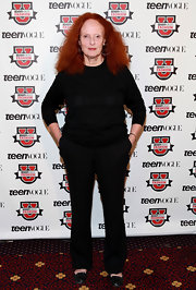 Grace Coddington looked chic as ever in black dress slacks at the 7th annual Teen Vogue Fashion University.
