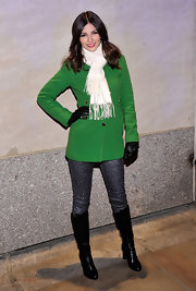 Victoria got in the holiday spirit for the 2012 Rockefeller Center Christmas Tree Lighting Ceremony with a pair of glittery jeans.