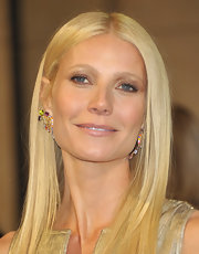 Gwyneth Paltrow gave her look a boost with multi-hued decorative earrings.