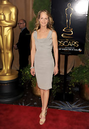 Helen Hunt looked flawless at the Academy Awards Nominations Luncheon in this silver ruched dress with a square neckline.