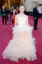 Fatima Ptacek looked like a little princess on the red carpet in this gown with ruffled tiers.