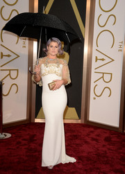 Kelly Osborn wore a romantic with Badgley Mischka gown with gold sheer overlay to the 2014 Academy Awards.